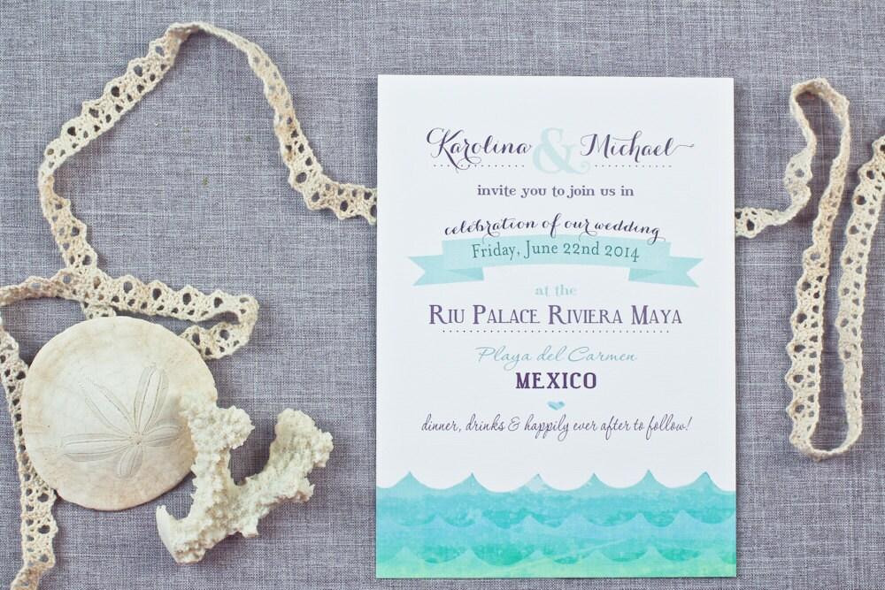 Etsy Beach Wedding Invitations: Ocean Waves Beach Wedding Invitations By SeaOfLoveStudios