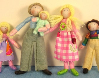 Dolls House Doll Set- the Pastel Family (customisable)