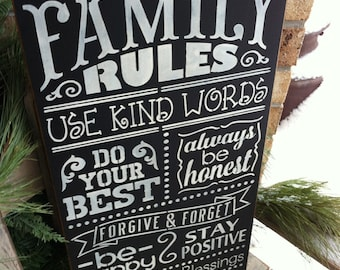 Primitive Family Rules Chalkboard Subway Art Sign