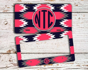 Monogrammed license plate or frame , Tribal pattern dark navy blue and hot pink , Aztec car tag monogram , Tribal bike license plate  (1289)
