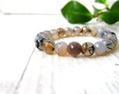 Black, white and beige Agate beads bracelet / Dragon vein agate stone bracelet / Earth colors Agate Minimalistic bracelet / LikeFreja
