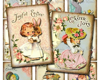 INSTANT DOWNLOAD Printable Easter Tags, Digital Collage Sheet of vintage girls with bonnets, bunnies and flowers. aceo, atc sized.