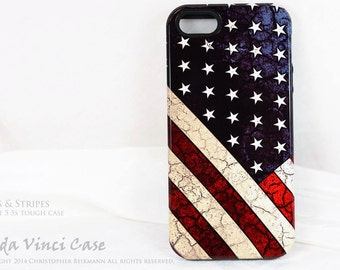 American Flag iPhone 5s SE Tough Case - Stars & Stripes - Artistic iPhone 5s Cover - Dual Layer Protection Apple iPhone SE case