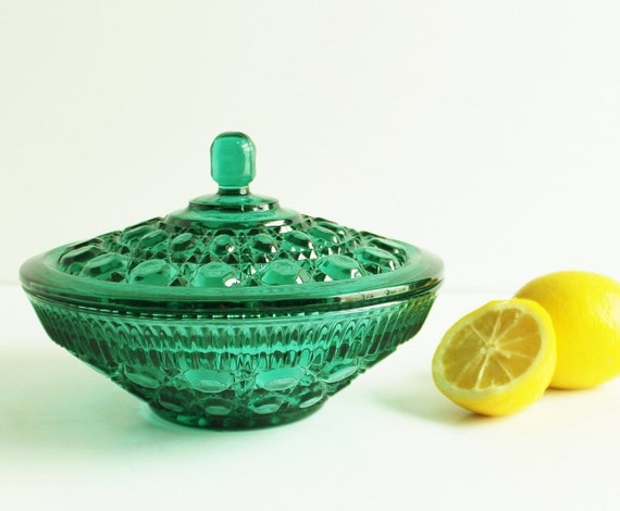 Vintage teal green glass christmas candy dish lid windsor