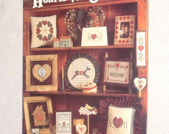 BOOK SALE - Hearts for Stitching - Cross Stitch Designs Booklet - from June Grigg Designs Inc - 1983