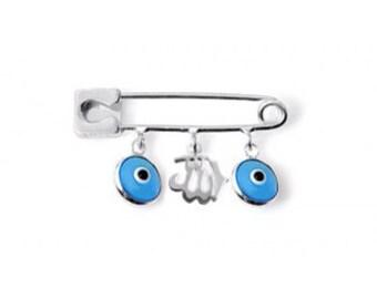 Silver Allah Evil Eye Pin