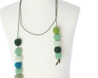 Green Felt Ball Neckpiece