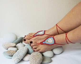 Peacock Barefoot Sandals, Nude shoes, Foot jewelry, Festival Wear Yoga Beach Boho Anklet Destination wedding shoes