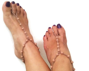 Soft brown beads macrame Foot jewelry Anklet, Nude shoes, Foot jewelry, Wedding, Victorian Lace, Sexy, Lolita, Yoga, Anklet