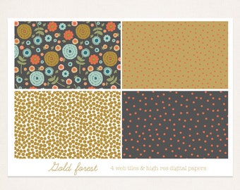 Floral seamless pattern, Hand drawn, gold forest seamless web tile & digital paper, repeating tile , website background, blog background,web