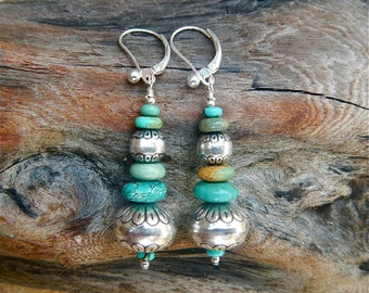 Southwest Sterling Silver & Turquoise Bench Bead Earrings