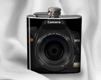 Flask - Camera Design Flask - Photographer Gift - Liquor Hip Flask 6 oz Birthday Gift- Cyber Monday