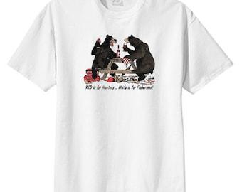 Bears on Wine, Hunters, Fishermen New T Shirt S M L XL 2X 3X 4X 5X, Fun Humor