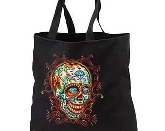 Diamond Sugar Skull New Black Tote Bag, Unique. Day of the Dead