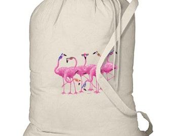 Flamingos in Sunglasses New Cotton Laundry Bag Travel Camp Beach Gifts