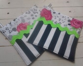Pretty Potholders Pink And Black With Lime Green Rick Rack Roses on Leopard with Pink Zebra on Reverse