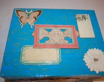 Decoupage Collage Box with Blue and Pink Fabric