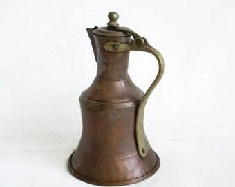 Vintage copper pitcher, brass handle knob, Turkish milk jug, creamer, decorative, hand wrought. Home decor. Metal, Farmhouse barn decoration