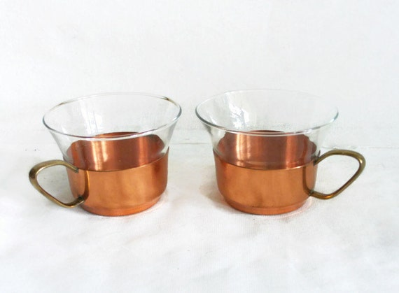 Vintage tea cups glass insert w copper holder two pcs brass handle