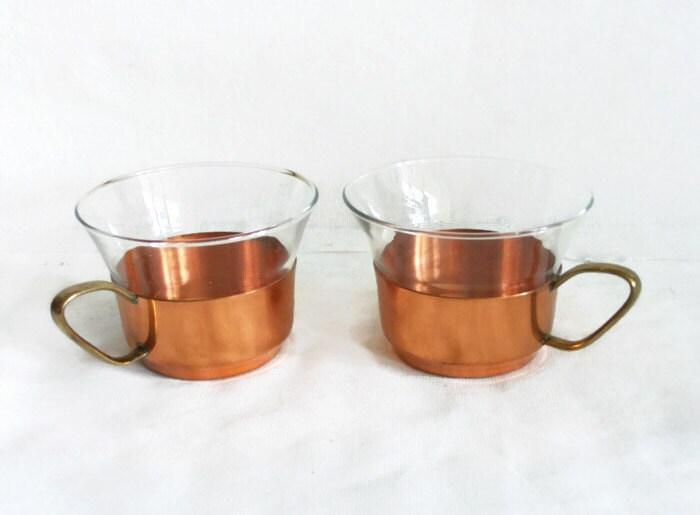 vintage tea cups glass insert w copper holder two pcs brass. Black Bedroom Furniture Sets. Home Design Ideas