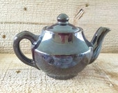 Vintage Brown Teapot 2 Cup Redware Lusterware Single Serve Japanese