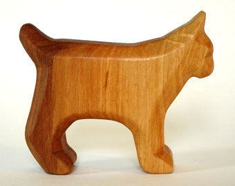 Lynx, Wooden Animals, Carved Lynx, Waldorf toys