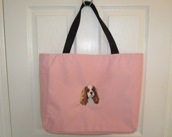 Cavalier King Charles embroidered tote bag