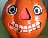Antique Halloween Jack O Lantern German Paper Mache Pumpkin Face 1920s Collectible Vintage Halloween Decor