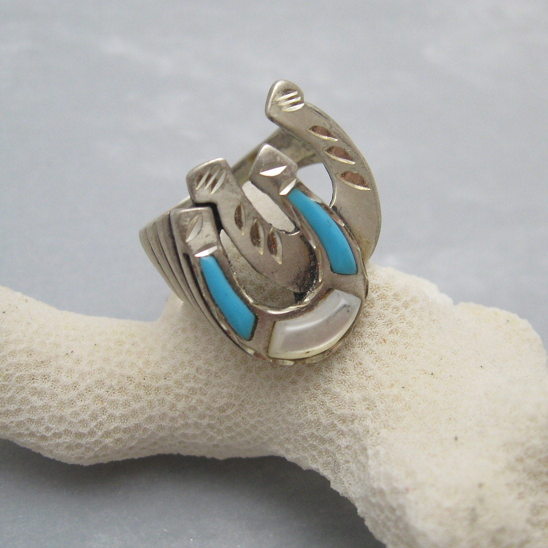 sterling horseshoe ring turquoise mop mens jewelry h653