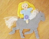 Flower Princess and pony -- felt toys