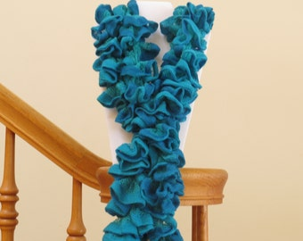 Blow out Sale! Crocheted Teal and Blue dense ruffle scarf.