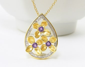 Amethyst Flower Necklace, February Birthstone Necklace, Amethyst Teardrop Necklace, February Birthday Gift,  Purple Gold Necklace |PJ2-10