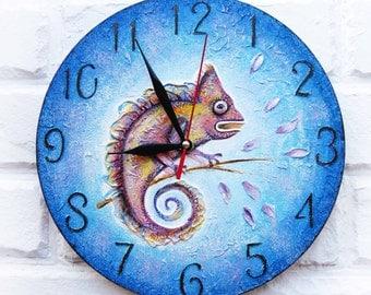The Purple Chameleon Wall Clock OOAK Home Decor for Children Baby Kid Boy Girl Nursery Playroom