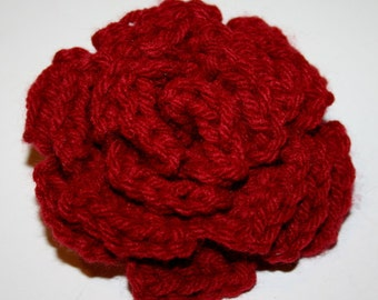 Maroon Crocheted Rose Flower Pin/Brooch