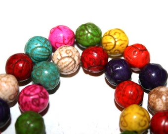 Full Strand of 10mm Carved Magnesite Mixed Color Beads