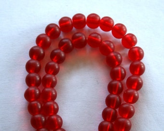 """6 mm Ruby Red Frosted """"Beach"""" Glass Beads"""