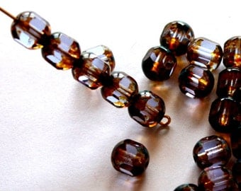 8 mm Czech Faceted Tube Alexrandrite With Stone Beads