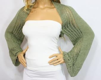 Mold Green Knit Bolero Handknit Bolero Long Sleeve Bolero 100% Organic Cotton Boleros Shrugs Wedding Bolero Bridal Shrug Bridesmaid