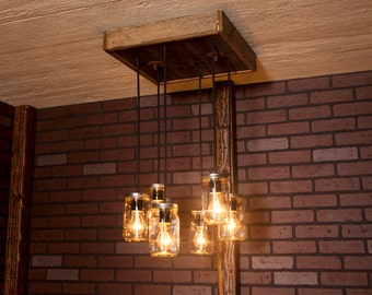 Mason Jar Chandelier With Reclaimed Wood and 6 Pendants. R-1818-CMJ-6