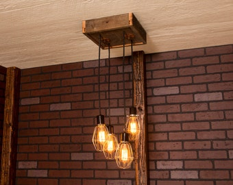 Industrial lighting, Industrial Chandelier, Nickel With Reclaimed Wood and 4 Pendants. R-1212-NC-4