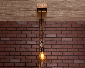 Industrial lighting, Industrial Chandelier, Antique Brass With Reclaimed Wood and 1 Pendants. R-66-AC-1