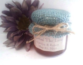 Burlap Barn Wedding Jam Favors/50 Rustic Favors /1.5 Oz/ Twine COLOR Choices/ Baby Shower/ Engagement Party/ Rehearsal Dinner