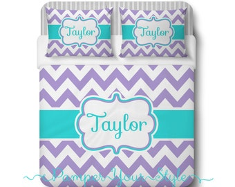 Aqua and Purple Chevron Bedding, Duvet or Comforter, Personalized, Create and Design Your Own Bedding