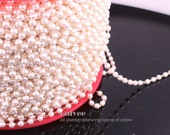10FT(3yd)-Gold plated chains,3mm Faux Pearl chain (N122G)