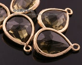 2pcs-18mmX11mm Gold plated Brass Faceted long teardrop glass pendants-olive(M302G-J)