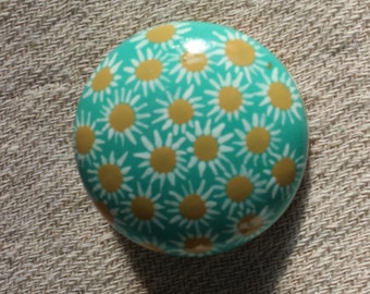 modern decor, funky furniture, door knob, dresser drawer pulls, handles, painted knobs, turquoise and mustard, turquoise knob, teal decor