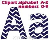 Clipart Alphabet - Clip art alphabet, digital alphabet, numbers, navy, blue, white, chevron, letters, scrapbooking