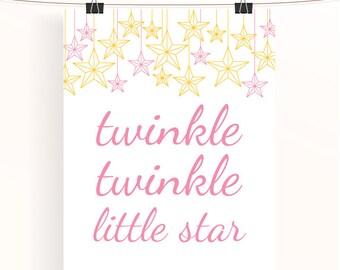Twinkle twinkle little star - pink and yellow nursery poster - nursery print - baby girl nursery - kids wall art - pink nursery art