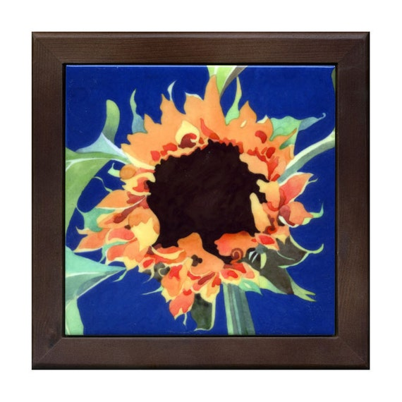 Sunflower in blue, yellow, gold, brown, green - ceramic tile trivet by Kathy Johnson