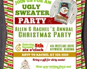 Ugly sweater, Tacky sweater, Christmas Party, Holiday Party, Invitation or Invite Custom.  You Print.  Chevron design.  Dirty Santa party